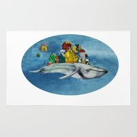 the whale Area & Throw Rugs featuring whale by Кaterina Кalinich