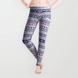 Aztec Stylized Pattern Blues Pinks Purples White Leggings