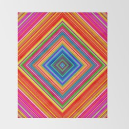 Rainbow Abstract Psychedelic Neon Dawn Triangle Design - Pink and  Orange Throw Blanket