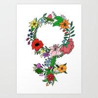 Feminist flower in color Art Print