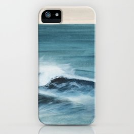 Surfing big waves iPhone Case