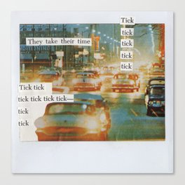 City Traffic Mixed Media Collage Canvas Print