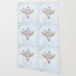 Boho Skull with Florals and Butterflies Wallpaper