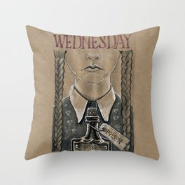 Wednesday Addams (DRAWLLOWEEN 2/31) Throw Pillow