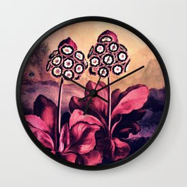 Warm Pink Auriculas Temple of Flora Wall Clock