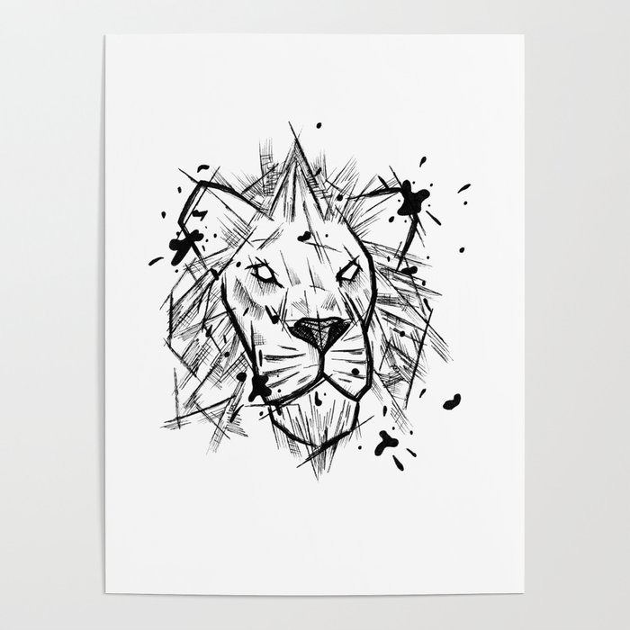 Lion Handmade Drawing Made In Pencil And Ink Tattoo Sketch Tattoo Flash Blackwork Poster By Lucagenart