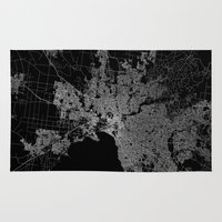 melbourne Area & Throw Rugs featuring Melbourne map Australia by Line Line Lines