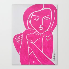 Pretty in Pink Woman - POP ART PAINTING ABSTRACT Canvas Print