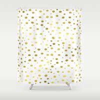 gold dots Shower Curtains featuring Gold Dots by Laura Maria Designs