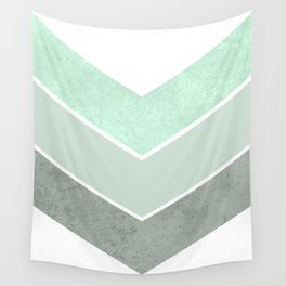 MINT TEAL GRAY CONCRETE CHEVRON Wall Tapestry