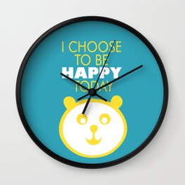 Happy panda, I choose to be happy today inspirational quote Wall Clock