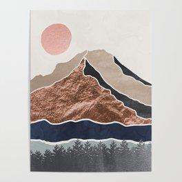 Mount Hood // Daylight Art Print Oregon Stratovolcano Rose Gold Silver Blue Cream Black Mountain Poster