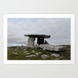 Poulnabrone Dolmen with Flowers Art Print