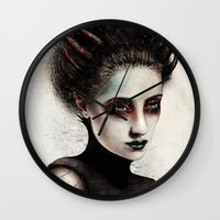 death note Wall Clocks featuring Death by Feline Zegers