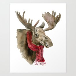 Moose in a Red Scarf Watercolor Art Print