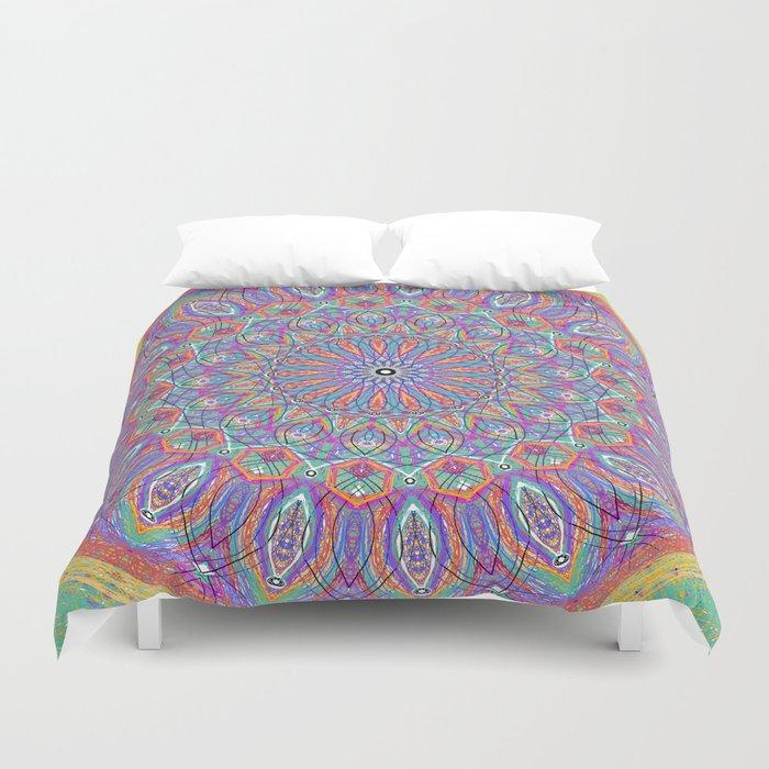 A little bit of Rainbow - Mandala Art Duvet Cover