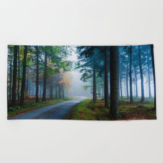Misty woods Beach Towel