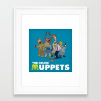 muppets Framed Art Prints featuring Drunk Muppets by Jared Gase
