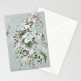 White roses and winter Castle love Stationery Cards
