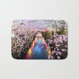 Cherry Blossom in pink   Japan Nakameguro River Bath Mat