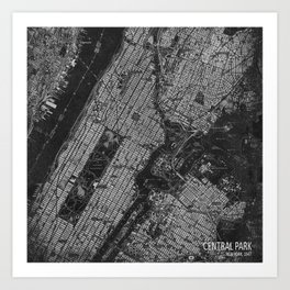 Central Park New York 1947 vintage old map for office decoration Art Print