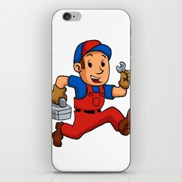handyman Running With A Toolbox iPhone Skin