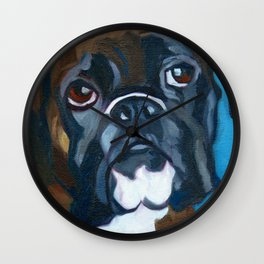 Boxer Lil E Dog Portrait Wall Clock