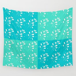 Minimal Leaf Pattern Blue and Green Wall Tapestry