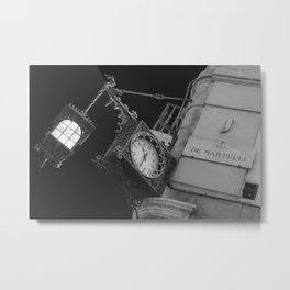 Via de martelli clock and light in Firenze street tuscany italy Metal Print
