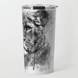 Black And White Half Faced Lioness Travel Mug