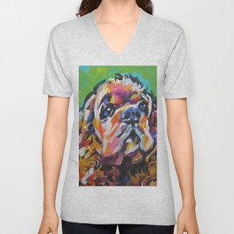 fun American Cocker Spaniel bright colorful Pop Art painting by Lea Unisex V-Neck