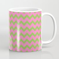 preppy Mugs featuring Preppy Pink and Green Chevron by Jozane House