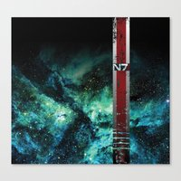 n7 Canvas Prints featuring N7 Battle Damaged Armor by ThePyratQueen