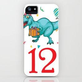 12th Birthday For Boys Dinosaur Birthday iPhone Case