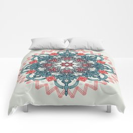 Coral & Teal Tangle Medallion Comforters