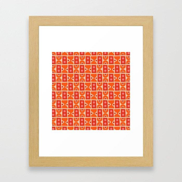 Mid Century Abstract Pattern Orange & Red Framed Art Print