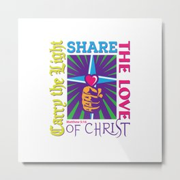 Carry the Light of Christ - White Background Metal Print