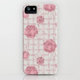 Pink Roses on Dots Basket Weave iPhone Case