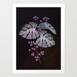Purple Monstera - minimaism Art Print