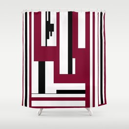 LINE PRINT WITH BLACK AND BURGUNDY Shower Curtain