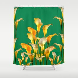 DECORATIVE GREEN ART GOLDEN CALLA LILIES Shower Curtain