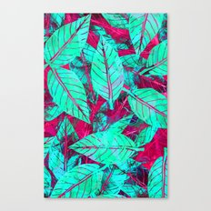 Turquoise and Pink Leaves Canvas Print