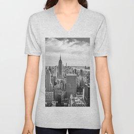 New York City Cityscape (Black and White) Unisex V-Neck