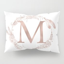 Letter M Rose Gold Pink Initial Monogram Pillow Sham