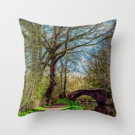 Chesterfield canal, leading into Worksop Throw Pillow