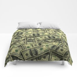 100 dollar cash get rich Comforters
