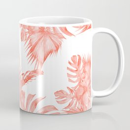 Tropical Palm Leaves Hibiscus Flowers Deep Coral Coffee Mug