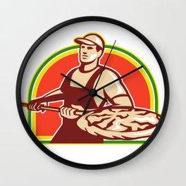 Baker Holding Peel With Pizza Pie Retro Wall Clock