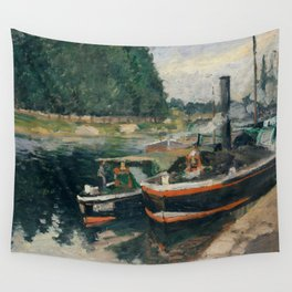Camille Pissarro - Barges at Pontoise (1876) Wall Tapestry
