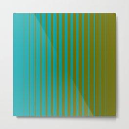 gradient stripes aqua olive Metal Print